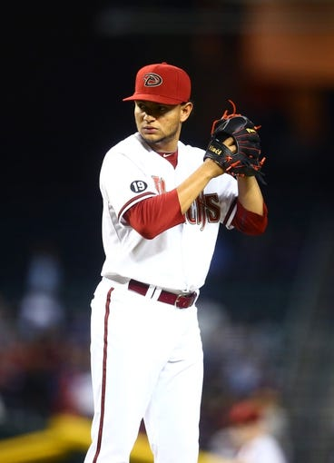 Sept. 17, 2013; Phoenix, AZ, USA: Arizona Diamondbacks pitcher Eury De La Rosa against the Los Angeles Dodgers at Chase Field. Mandatory Credit: Mark J. Rebilas-USA TODAY Sports