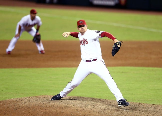 Sept. 17, 2013; Phoenix, AZ, USA: Arizona Diamondbacks pitcher J.J. Putz against the Los Angeles Dodgers at Chase Field. Mandatory Credit: Mark J. Rebilas-USA TODAY Sports