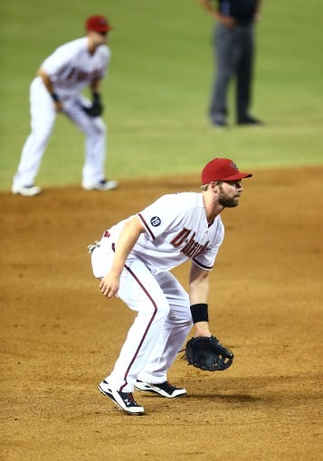 Sept. 17, 2013; Phoenix, AZ, USA: Arizona Diamondbacks third baseman Matt Davidson against the Los Angeles Dodgers at Chase Field. Mandatory Credit: Mark J. Rebilas-USA TODAY Sports
