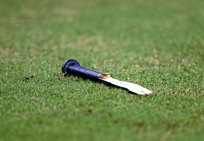 Sept. 17, 2013; Phoenix, AZ, USA: Detailed view of a broken bat on the field during the game between the Arizona Diamondbacks against the Los Angeles Dodgers at Chase Field. Mandatory Credit: Mark J. Rebilas-USA TODAY Sports