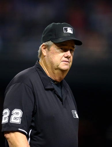 Sept. 17, 2013; Phoenix, AZ, USA: MLB umpire Joe West during the game between the Arizona Diamondbacks against the Los Angeles Dodgers at Chase Field. Mandatory Credit: Mark J. Rebilas-USA TODAY Sports