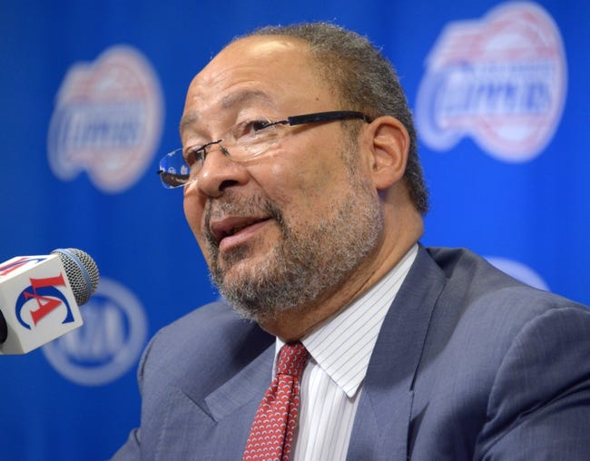 May 12, 2014; Los Angeles, CA, USA; Dick Parsons is introduced as Los Angeles Clippers interim chief executive officer at a press conference at Staples Center. Mandatory Credit: Kirby Lee-USA TODAY Sports