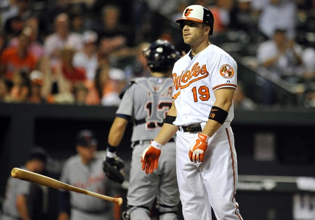 May 12, 2014; Baltimore, MD, USA; Baltimore Orioles first baseman Chris Davis (19) reacts after striking out in the eighth inning against the Detroit Tigers at Oriole Park at Camden Yards. The Tigers defeated the Orioles 4-1. Mandatory Credit: Joy R. Absalon-USA TODAY Sports