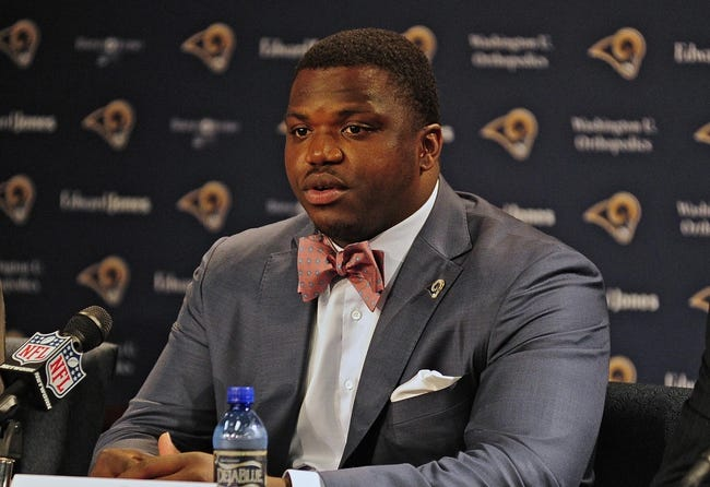 May 13, 2014; St. Louis, MO, USA; St. Louis Rams first-round pick offensive lineman Greg Robinson talks with the media during a press conference at Rams Park. Mandatory Credit: Jeff Curry-USA TODAY Sports