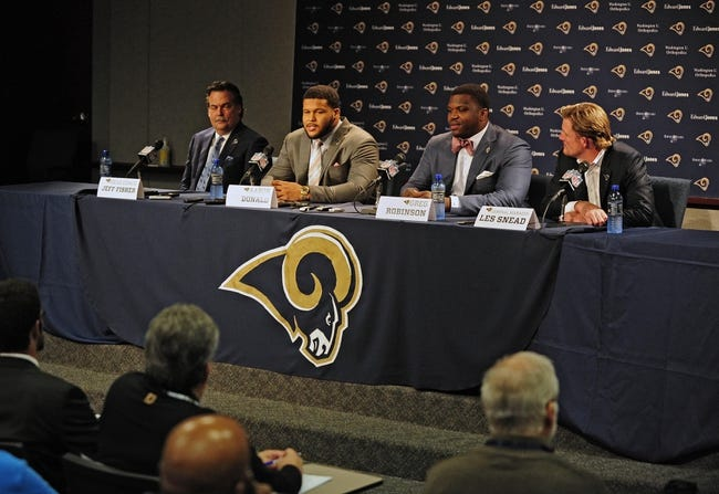 May 13, 2014; St. Louis, MO, USA; St. Louis Rams first-round pick defensive tackle Aaron Donald and first-round pick offensive lineman Greg Robinson talks with the media during a press conference at Rams Park. Mandatory Credit: Jeff Curry-USA TODAY Sports