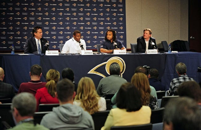 May 13, 2014; St. Louis, MO, USA; St. Louis Rams second round pick defensive back Lamarcus Joyner and third round pick running back Tre Mason talk with the media during a press conference at Rams Park. Mandatory Credit: Jeff Curry-USA TODAY Sports