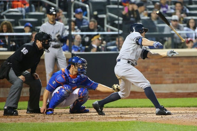 May 14, 2014; New York, NY, USA; New York Yankees left fielder Brett Gardner (11) loses the bat during the third inning against the New York Mets at Citi Field. Mandatory Credit: Anthony Gruppuso-USA TODAY Sports