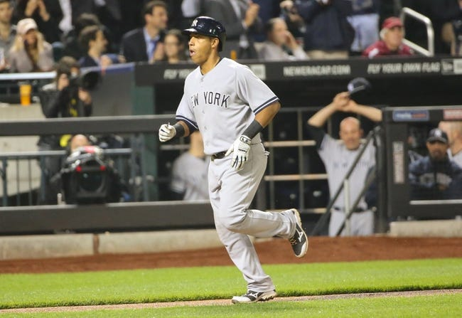 May 14, 2014; New York, NY, USA;  New York Yankees third baseman Yangervis Solarte (26) rounds the bases on his solo home run during the fourth inning against the New York Mets at Citi Field. Mandatory Credit: Anthony Gruppuso-USA TODAY Sports