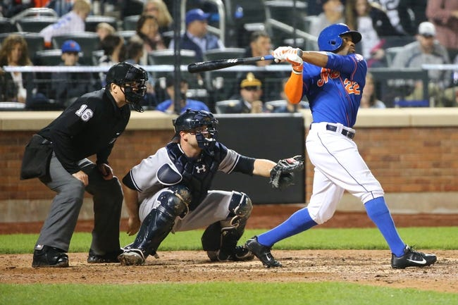 May 14, 2014; New York, NY, USA;  New York Mets left fielder Eric Young Jr. (22) doubles to deep center during the sixth inning against the New York Yankees at Citi Field. Mandatory Credit: Anthony Gruppuso-USA TODAY Sports