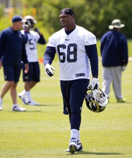 May 16, 2014; St. Louis, MO, USA; St. Louis Rams defensive tackle Deantre Harlan (68) during rookie minicamp at Rams Park. Mandatory Credit: Scott Rovak-USA TODAY Sports