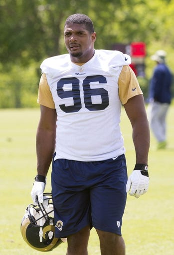 May 16, 2014; St. Louis, MO, USA; St. Louis Rams defensive end Michael Sam (96) during rookie minicamp at Rams Park. Mandatory Credit: Scott Rovak-USA TODAY Sports