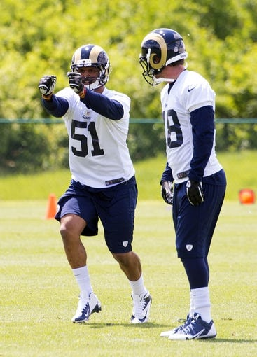 May 16, 2014; St. Louis, MO, USA; St. Louis Rams linebacker Aaron Hill (51) during rookie minicamp at Rams Park. Mandatory Credit: Scott Rovak-USA TODAY Sports