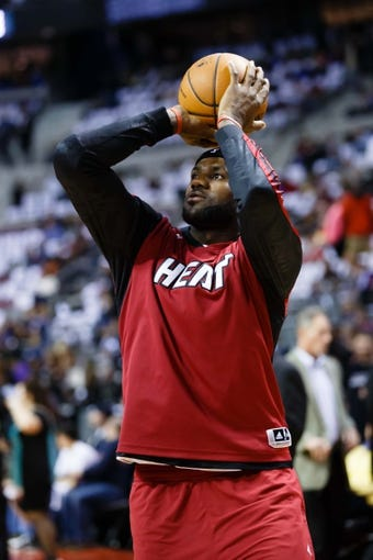 Mar 28, 2014; Auburn Hills, MI, USA; Miami Heat forward LeBron James (6) before the game against the Detroit Pistons at The Palace of Auburn Hills. Mandatory Credit: Rick Osentoski-USA TODAY Sports