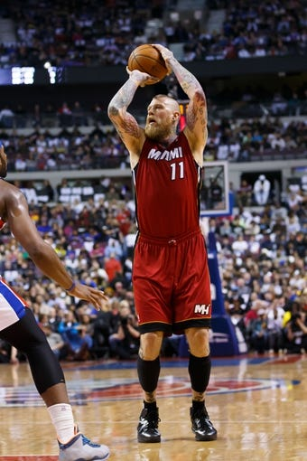 Mar 28, 2014; Auburn Hills, MI, USA; Miami Heat forward Chris Andersen (11) shoots against the Detroit Pistons at The Palace of Auburn Hills. Mandatory Credit: Rick Osentoski-USA TODAY Sports