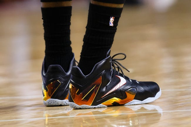Mar 28, 2014; Auburn Hills, MI, USA; Detail of the shoes of Miami Heat forward LeBron James (6) during the game against the Detroit Pistons at The Palace of Auburn Hills. Mandatory Credit: Rick Osentoski-USA TODAY Sports
