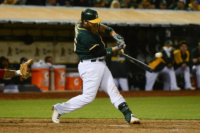 May 9, 2014; Oakland, CA, USA; Oakland Athletics catcher Derek Norris (36) breaks his bat during the fifth inning against the Washington Nationals at O.co Coliseum. The Athletics defeated the Nationals 8-0.  Mandatory Credit: Kyle Terada-USA TODAY Sports