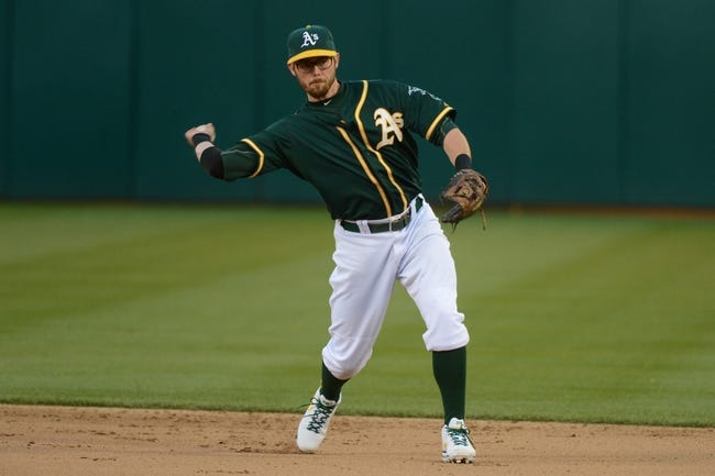 May 10, 2014; Oakland, CA, USA; Oakland Athletics second baseman Eric Sogard (28) throws the baseball to first base during the sixth inning against the Washington Nationals at O.co Coliseum. The Athletics defeated the Nationals 4-3 in 10 innings. Mandatory Credit: Kyle Terada-USA TODAY Sports