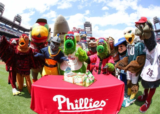 May 18, 2014; Philadelphia, PA, USA; The Philly Phanatic celebrates his birthday with mascots friends and fans prior to the game between the Philadelphia Phillies and Cincinnati Reds at Citizens Bank Park. The Phillies won 8-3. Mandatory Credit: Bill Streicher-USA TODAY Sports
