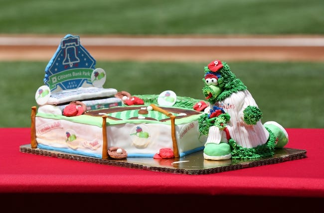 May 18, 2014; Philadelphia, PA, USA; The Philly Phanatic's birthday cake sits on a table on the field before a game against the Cincinnati Reds at Citizens Bank Park. The Phillies won 8-3. Mandatory Credit: Bill Streicher-USA TODAY Sports
