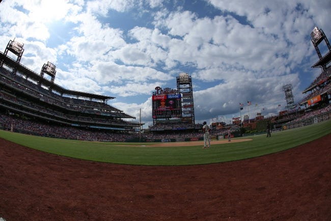 May 18, 2014; Philadelphia, PA, USA; General view of the baseball field with scoreboard in the background during a game between the Philadelphia Phillies and Cincinnati Reds at Citizens Bank Park. The Phillies won 8-3. Mandatory Credit: Bill Streicher-USA TODAY Sports