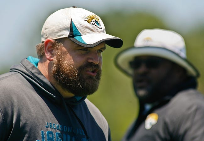 May 16, 2014; Jacksonville, FL, USA; Jacksonville Jaguars assistant offensive line coach Luke Butkus during Rookie Minicamp at Florida Blue Health and Wellness Practice Fields. Mandatory Credit: Phil Sears-USA TODAY Sports