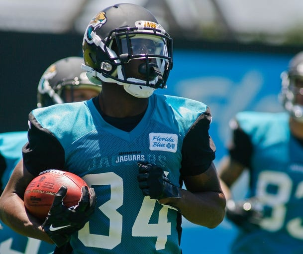 May 16, 2014; Jacksonville, FL, USA; Jacksonville Jaguars running back Storm Johnson (34) runs during Rookie Minicamp at Florida Blue Health and Wellness Practice Fields. Mandatory Credit: Phil Sears-USA TODAY Sports
