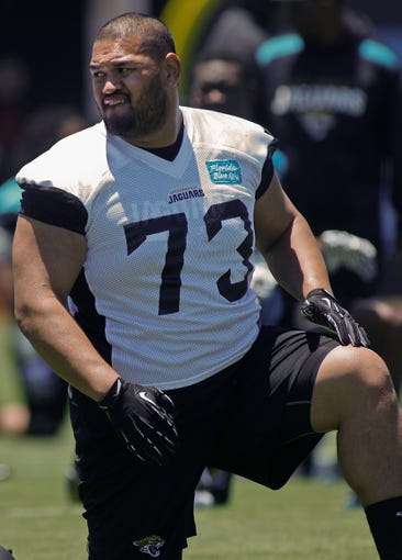 May 16, 2014; Jacksonville, FL, USA; Jacksonville Jaguars defensive tackle Ricky Havili-Heimul (73) during Rookie Minicamp at Florida Blue Health and Wellness Practice Fields. Mandatory Credit: Phil Sears-USA TODAY Sports