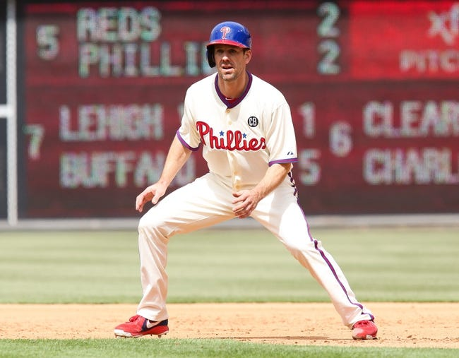 May 18, 2014; Philadelphia, PA, USA; Philadelphia Phillies starting pitcher Cliff Lee (33) runs the bases in a game against the Cincinnati Reds at Citizens Bank Park. The Phillies won 8-3. Mandatory Credit: Bill Streicher-USA TODAY Sports