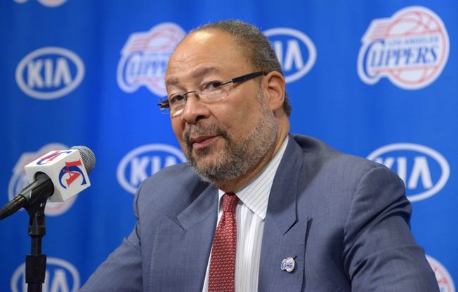 May 12, 2014; Los Angeles, CA, USA; Dick Parsons is introduced as Los Angeles Clippers interim chief executive officer at press conference at Staples Center. Mandatory Credit: Kirby Lee-USA TODAY Sports