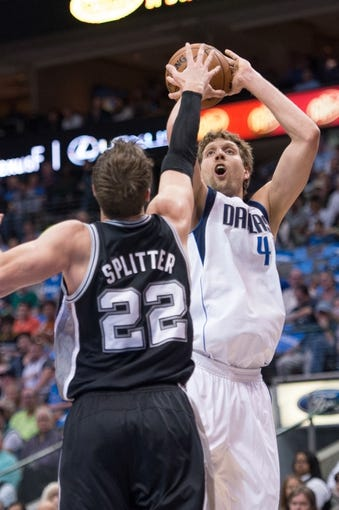 Apr 10, 2014; Dallas, TX, USA; San Antonio Spurs center Tiago Splitter (22) and Dallas Mavericks forward Dirk Nowitzki (41) during the game at the American Airlines Center. The Spurs defeated the Mavericks 109-100. Mandatory Credit: Jerome Miron-USA TODAY Sports