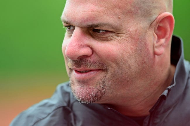 May 21, 2014; Berea, OH, USA; Cleveland Browns head coach Mike Pettine during organized team activities at Cleveland Browns practice facility. Mandatory Credit: Andrew Weber-USA TODAY Sports