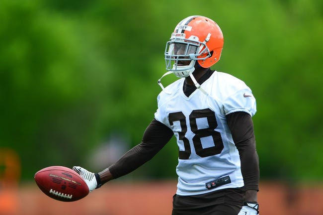 May 21, 2014; Berea, OH, USA; Cleveland Browns defensive back Julian Posey (38) during organized team activities at Cleveland Browns practice facility. Mandatory Credit: Andrew Weber-USA TODAY Sports