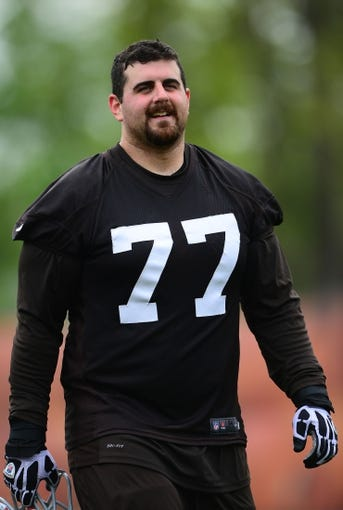 May 21, 2014; Berea, OH, USA; Cleveland Browns offensive lineman John Greco (77) during organized team activities at Cleveland Browns practice facility. Mandatory Credit: Andrew Weber-USA TODAY Sports