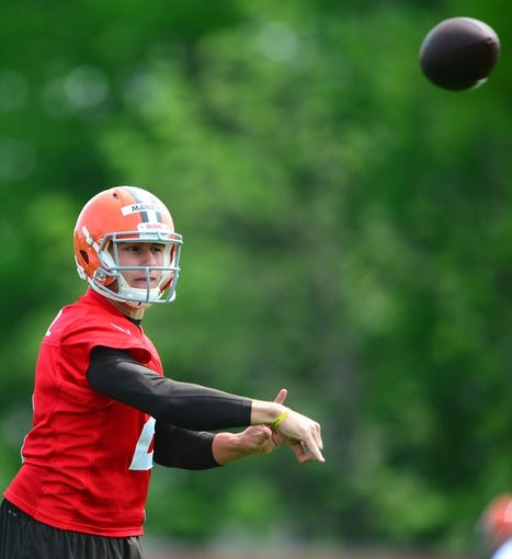 May 21, 2014; Berea, OH, USA; Cleveland Browns quarterback Johnny Manziel (2) during organized team activities at Cleveland Browns practice facility. Mandatory Credit: Andrew Weber-USA TODAY Sports