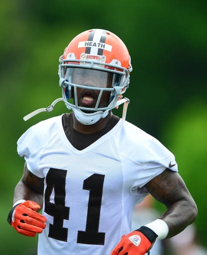 May 28, 2014; Berea, OH, USA; Cleveland Browns defensive back T.J. Heath (41) during organized team activities at Cleveland Browns training facility. Mandatory Credit: Andrew Weber-USA TODAY Sports