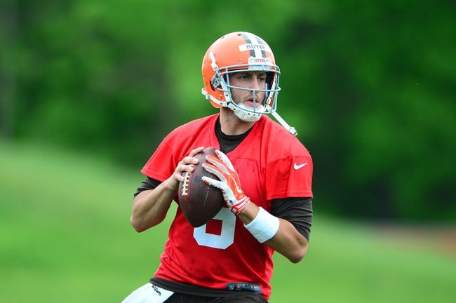 May 28, 2014; Berea, OH, USA; Cleveland Browns quarterback Brian Hoyer looks to  pass during organized team activities at Cleveland Browns training facility. Mandatory Credit: Andrew Weber-USA TODAY Sports