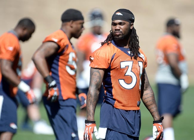 May 28, 2013; Englewood, CO, USA; Denver Broncos strong safety Omar Bolden (31) during organized team activities at the Broncos training facility. Mandatory Credit: Ron Chenoy-USA TODAY Sports