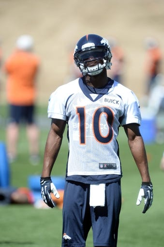 May 28, 2013; Englewood, CO, USA; Denver Broncos wide receiver Emmanuel Sanders (10) during organized team activities at the Broncos training facility. Mandatory Credit: Ron Chenoy-USA TODAY Sports