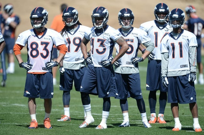 May 28, 2013; Englewood, CO, USA; Denver Broncos wide receivers Wes Welker (83) and Isaiah Burse (19) and Nathan Palmer (13) and Greg Wilson (15) and Bennie Fowler (16) and Jordan Norwood (11) during organized team activities at the Broncos training facility. Mandatory Credit: Ron Chenoy-USA TODAY Sports