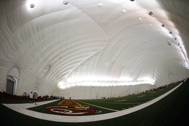 May 29, 2014; Ashburn, VA, USA; A general view of the Washington Redskins practice bubble during organized team activities at Redskins Park. Mandatory Credit: Geoff Burke-USA TODAY Sports