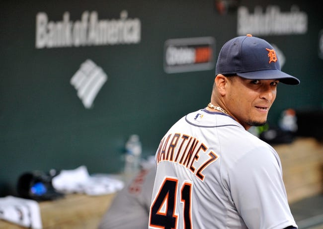 May 12, 2014; Baltimore, MD, USA; Detroit Tigers designated hitter Victor Martinez (41) prior to a game against the Baltimore Orioles at Oriole Park at Camden Yards. The Tigers defeated the Orioles 4-1. Mandatory Credit: Joy R. Absalon-USA TODAY Sports