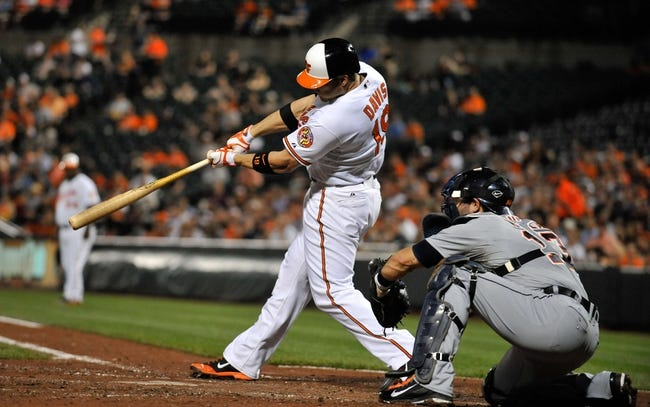 May 12, 2014; Baltimore, MD, USA; Baltimore Orioles first baseman Chris Davis (19) bats in the third inning against the Detroit Tigers at Oriole Park at Camden Yards. The Tigers defeated the Orioles 4-1. Mandatory Credit: Joy R. Absalon-USA TODAY Sports