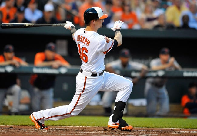 May 13, 2014; Baltimore, MD, USA; Baltimore Orioles catcher Caleb Joseph (36) bats in the second inning against the Detroit Tigers at Oriole Park at Camden Yards. The Tigers defeated the Orioles 4-1. Mandatory Credit: Joy R. Absalon-USA TODAY Sports