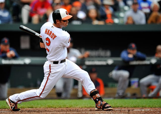 May 14, 2014; Baltimore, MD, USA; Baltimore Orioles shortstop J.J. Hardy (2) bats in the fifth inning against the Detroit Tigers at Oriole Park at Camden Yards. The Tigers defeated the Orioles 7-5. Mandatory Credit: Joy R. Absalon-USA TODAY Sports