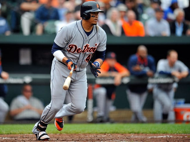 May 14, 2014; Baltimore, MD, USA; Detroit Tigers designated hitter Victor Martinez (41) bats in the third inning against the Baltimore Orioles at Oriole Park at Camden Yards. The Tigers defeated the Orioles 7-5. Mandatory Credit: Joy R. Absalon-USA TODAY Sports