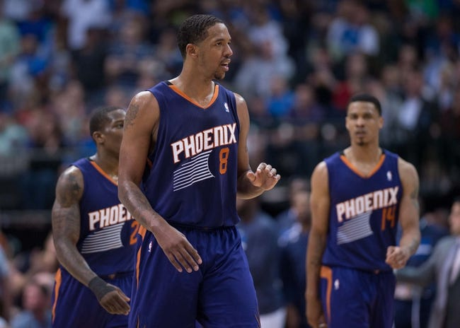 Apr 12, 2014; Dallas, TX, USA; Phoenix Suns forward Channing Frye (8) during the game against the Dallas Mavericks at the American Airlines Center. The Mavericks defeated the Suns 101-98. Mandatory Credit: Jerome Miron-USA TODAY Sports