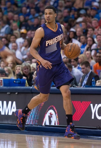 Apr 12, 2014; Dallas, TX, USA; Phoenix Suns guard Gerald Green (14) during the game against the Dallas Mavericks at the American Airlines Center. The Mavericks defeated the Suns 101-98. Mandatory Credit: Jerome Miron-USA TODAY Sports