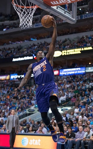 Apr 12, 2014; Dallas, TX, USA; Phoenix Suns guard Eric Bledsoe (2) during the game against the Dallas Mavericks at the American Airlines Center. The Mavericks defeated the Suns 101-98. Mandatory Credit: Jerome Miron-USA TODAY Sports