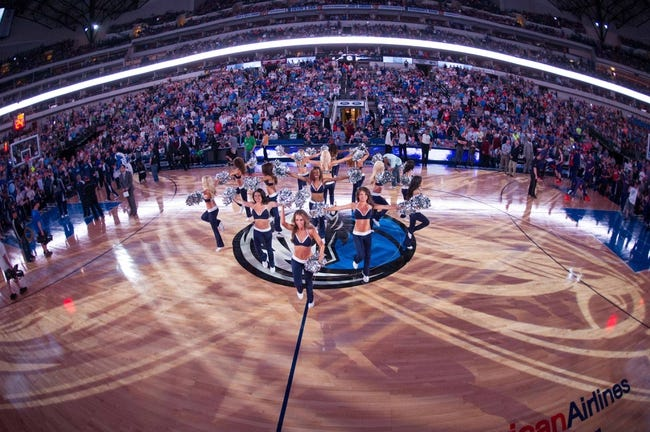Apr 12, 2014; Dallas, TX, USA; The Dallas Mavericks dancers perform during the game between the Mavericks and the Phoenix Suns at the American Airlines Center. The Mavericks defeated the Suns 101-98. Mandatory Credit: Jerome Miron-USA TODAY Sports