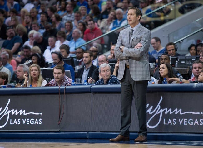 Apr 12, 2014; Dallas, TX, USA; Phoenix Suns head coach Jeff Hornacek during the game against the Dallas Mavericks at the American Airlines Center. The Mavericks defeated the Suns 101-98. Mandatory Credit: Jerome Miron-USA TODAY Sports